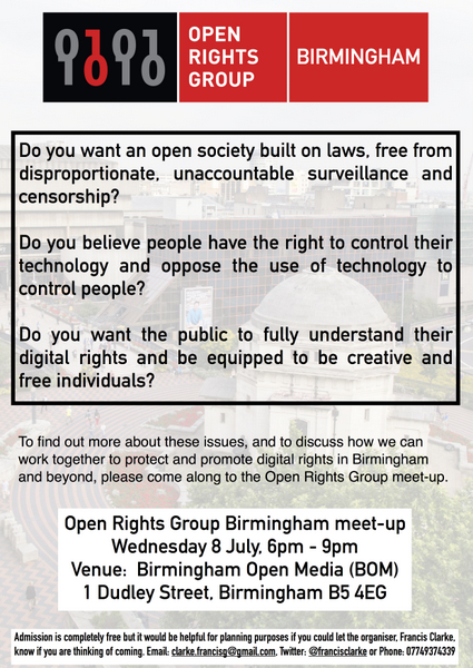 Full size image of poster advertising 1st ever meet-up of Open Rights Group Birmingham campaign group