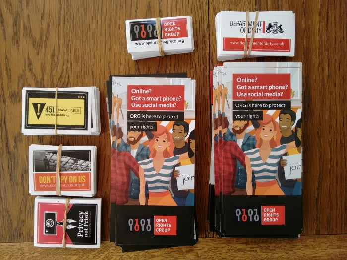 Open Rights Group leaflets and stickers piled up on a table