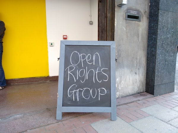 Sandwich board outside Birmingham Open Media advertising the Open Right Group Birmingham launch