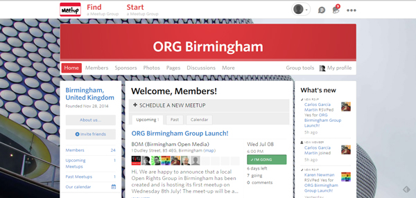 Meetup page for Open Rights Group Birmingham