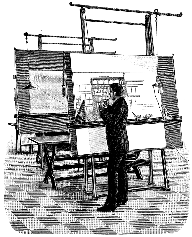 Illustration of architect standing by drawing board. Source unknown - From an 1893 technical journal, now in the public domain