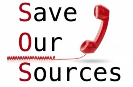 Image of red telephone next to the words 'Save Our Sources', illustrating the Press Gazette's Save Our Sources campaign