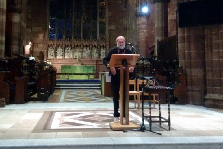 Professor David Lyon giving his talk on why surveillance is a religious issue at St Martin's in the Bullring church in Birmingham
