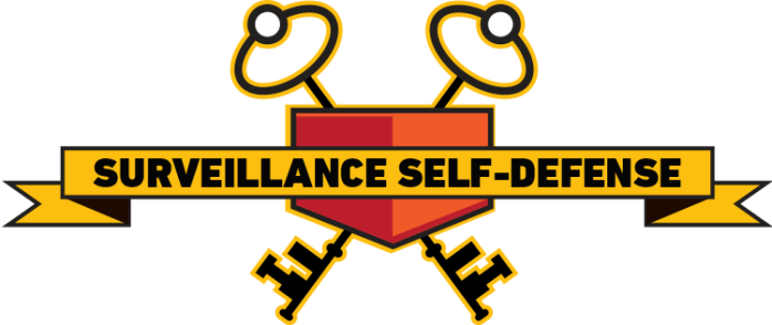 EFF Surveillance Self-Defense logo showing text plus two antennas and two keys