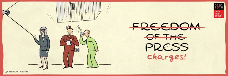 Open Rights Group illustration for the Espionage Act campaign showing Prime Mininster Theresa May lowering a cage over a journalist and whistleblower. Next to the cage is text which reads 'freedom of the press charges' with the words 'freedom of the' crossed out.