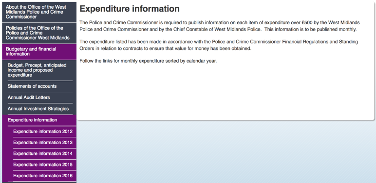 Screenshot of West Midlands Police and Crime Commissioner monthly expenditure report web page