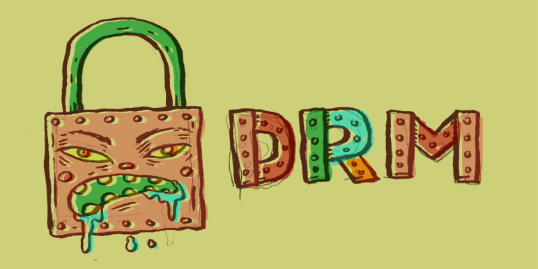 Padlock with a face on it. To the right of the padlock are the letters DRM, which stand for Digital Rights Management