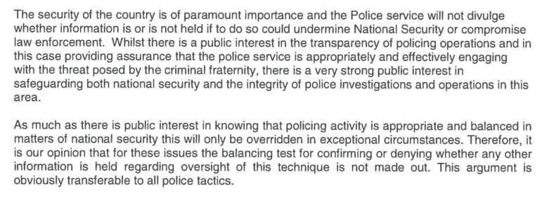 Reasons the West Midlands Police and Crime Commissioner gave for refusing the Freedom of Information Act request for information about oversight arrangements for covert mobile surveillance