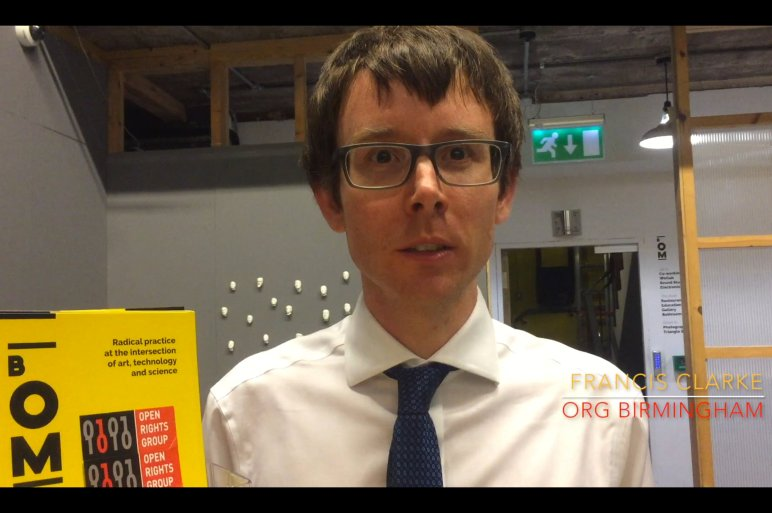 Screenshot from Open Rights Group Birmingham video profile featuring interview with Local Organiser Francis Clarke
