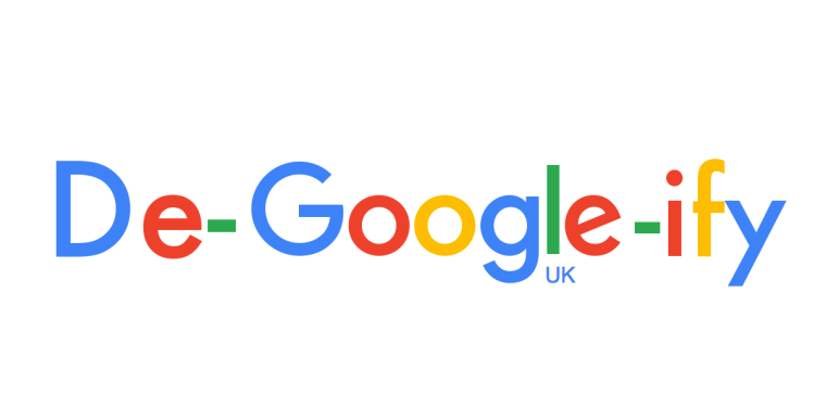 Google UK logo adapted to read De-Google-ify