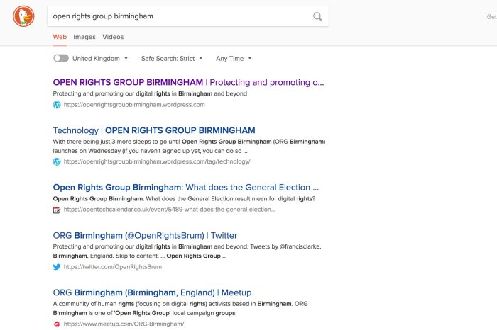 Search results for Open Rights Group Birmingham in DuckDuckGo