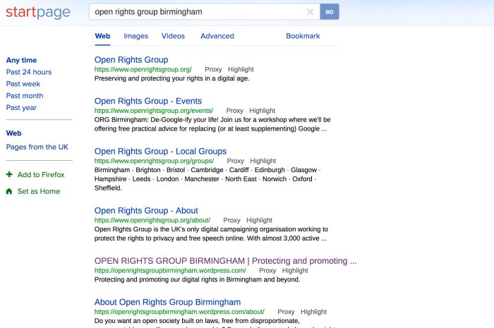 Search results for Open Rights Group Birmingham in StartPage